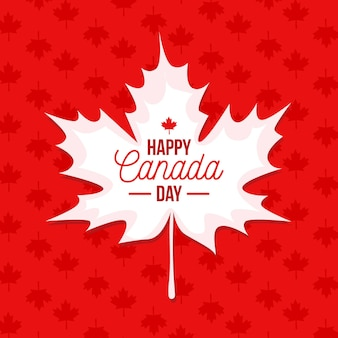 Flat design canada day with maple leaf background