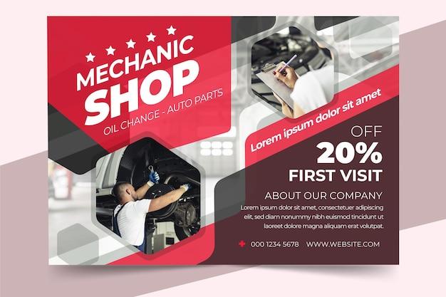Poster di auto design piatto a4 con foto orizzontale