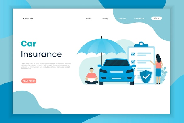 Flat design car insurance landing page template