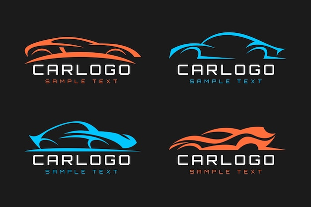 Flat design car logo collection