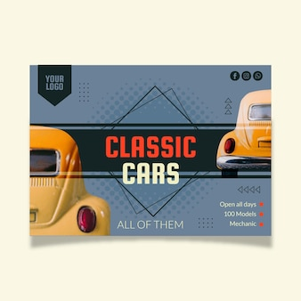Flat design car poster template with photo horizontal