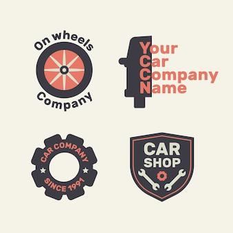 Flat design car shop repair collection