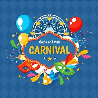 Плоский дизайн карнавал день празднования