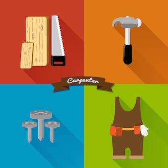 Flat design, carpenter tool set