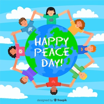 Flat design cartoon children on international peace day