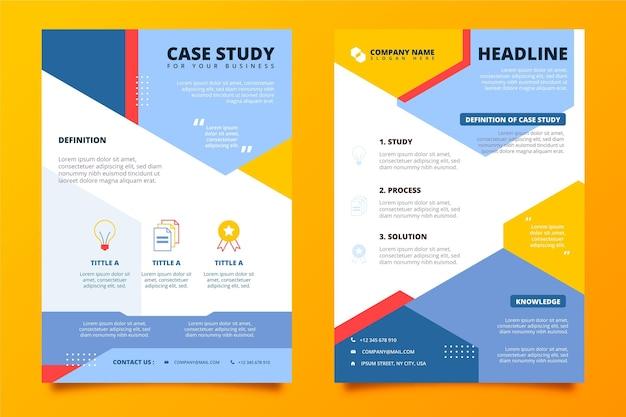 Modello di volantino per casi di studio di design piatto