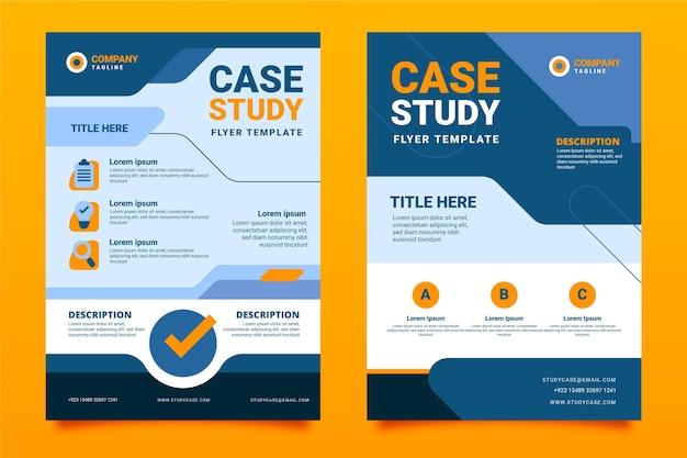 Шаблон флаера с тематическим исследованием в плоском дизайне