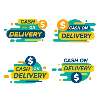 Flat design cash on delivery badge collection