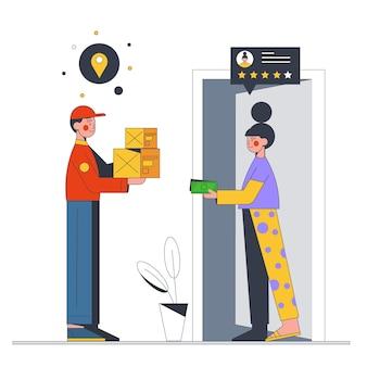 Flat design cash on delivery illustrated