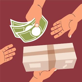 배달 개념에 평면 디자인 현금