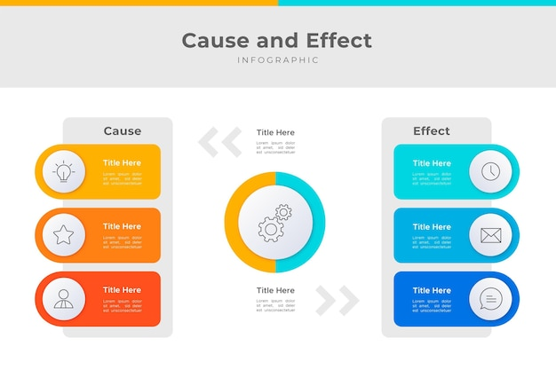 Flat design cause and effect infographic