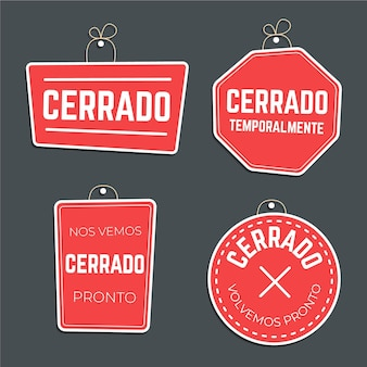 Flat design cerrado signboard collection