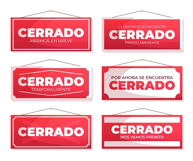 Flat design cerrado signboard collection