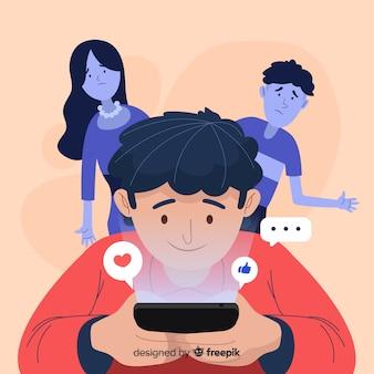 ソーシャルメディアに依存するフラットなデザインキャラクター