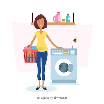 Flat design character doing laundry