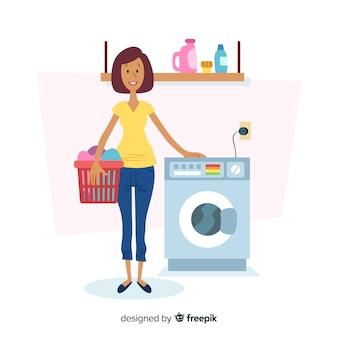 洗濯をしているフラットなデザインキャラクター