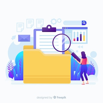 Flat design character file searching  landing page