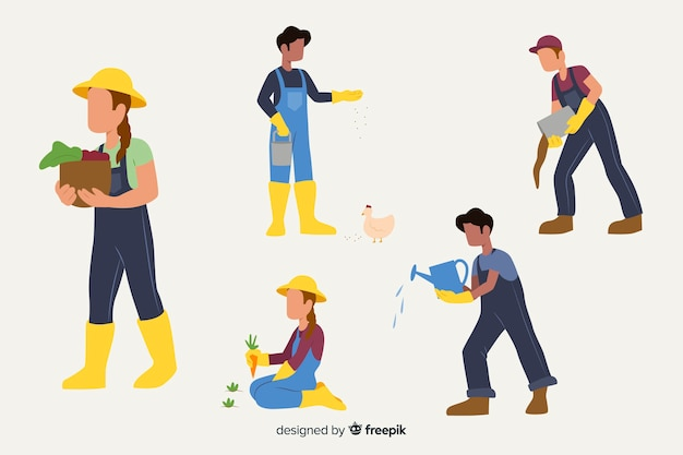 Flat design characters agricultural workers duties