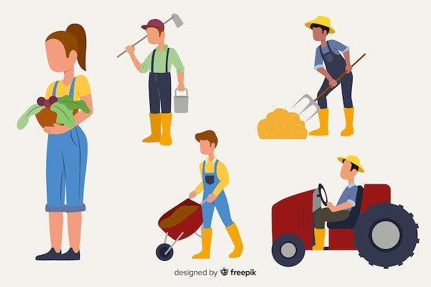 Flat design characters agricultural workers
