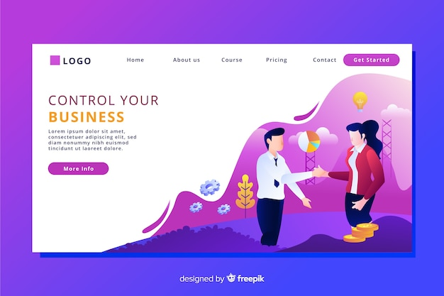Flat design characters business landing page