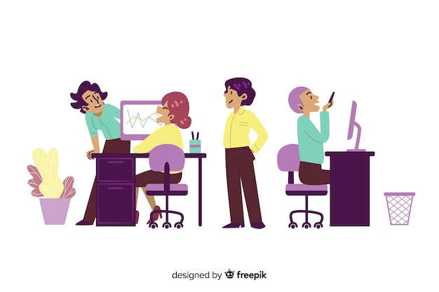 Flat design characters chatting in workplace