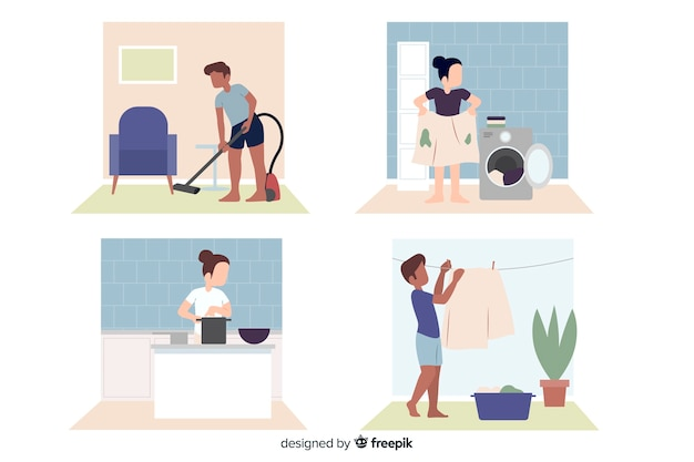 Flat design characters doing housework