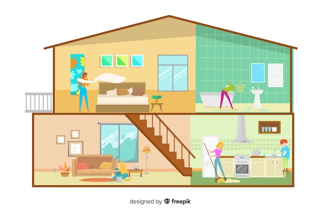 Flat design characters doing much housework