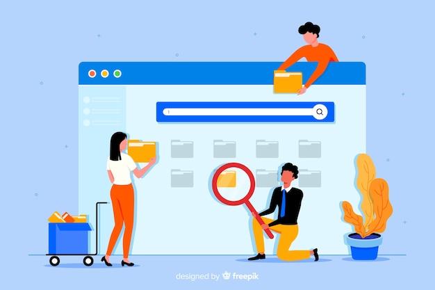 방문 페이지를 검색하는 평면 디자인 문자 파일