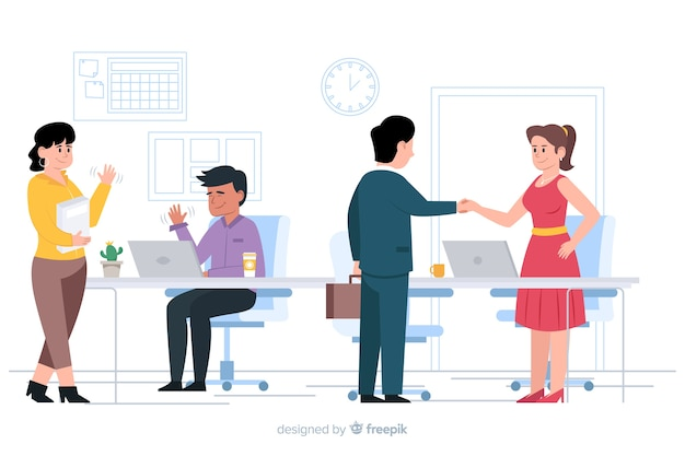 Flat design characters greeting in workplace