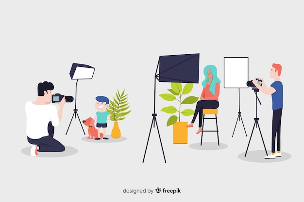 Flat design characters occupied photographers