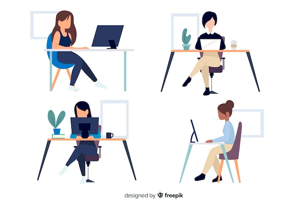 Flat design characters office workers sitting