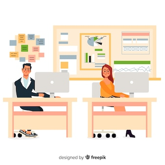 Flat design characters at office workplace