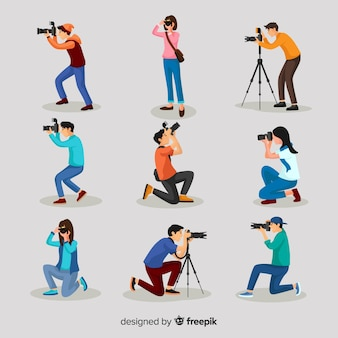 Flat design characters photographers' activities