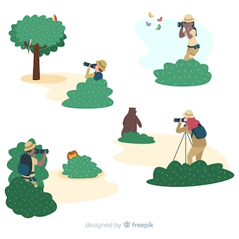 Flat design characters photographers in nature