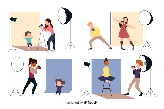 Flat design characters photographers working
