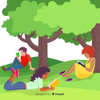 Flat design characters reading under trees