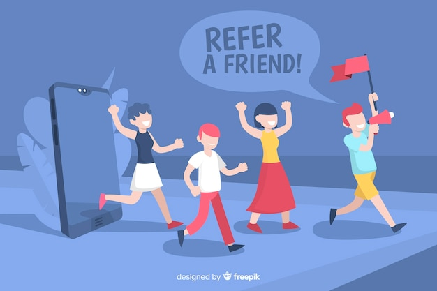 Flat design characters with phone and refer a friend concept