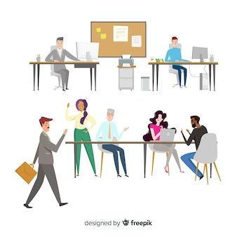 Flat design characters in workplace