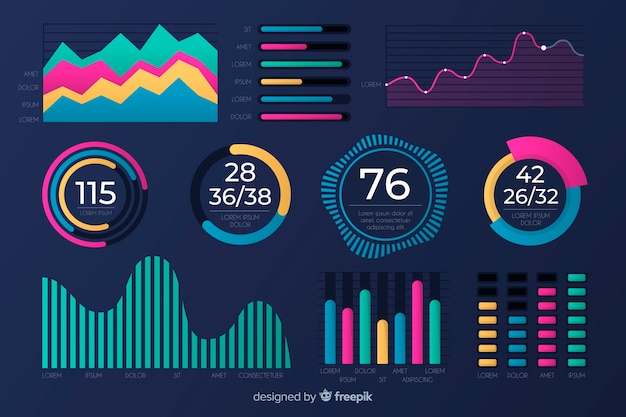 Flat design of chart collection template