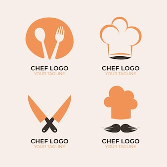 Collezione di logo chef design piatto