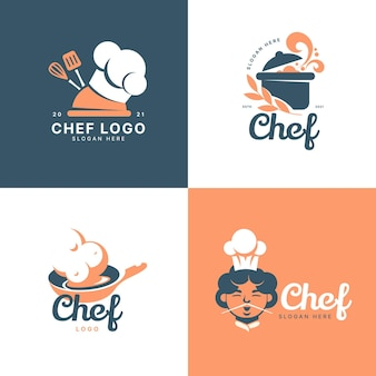 Коллекция логотипов шеф-повара в плоском дизайне