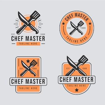 Flat design chef logo template