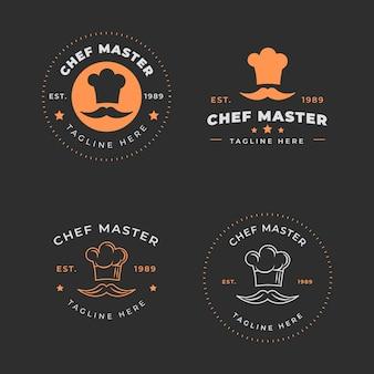 Modello di logo chef design piatto