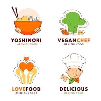 Плоский дизайн шаблонов логотипа шеф-повара