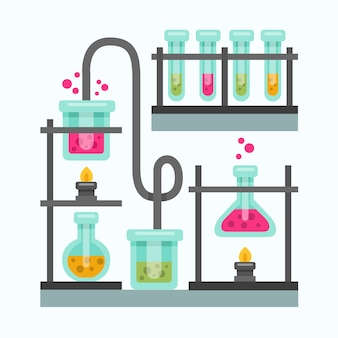 Flat design chemistry recipients