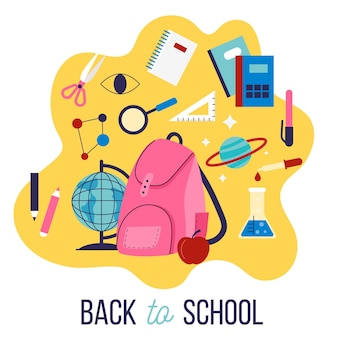 Flat design children back to school background