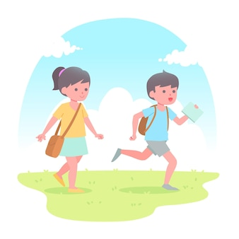 Flat design children back to school concept