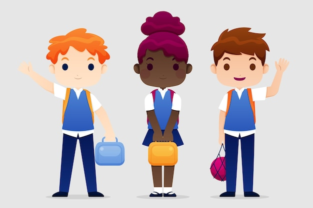 Flat design children back to school
