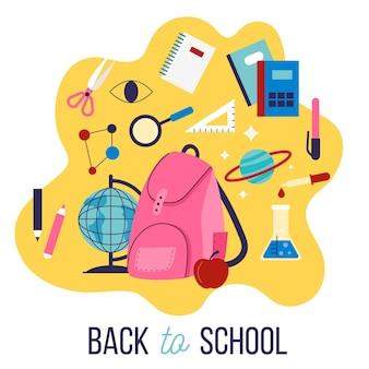 フラットなデザインの子供たちが学校の背景に戻る