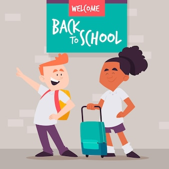 Плоский дизайн детей обратно в школу баннер